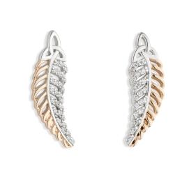Jean Butler €128 - Sterling Silver Yellow Trinity Feather Earrings http://www.jeanbutlerjewellery.com/yellowow-trinity-feather-with-half-cubic-zirconia-side.html