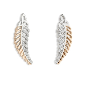 Jean Butler €128 - Sterling Silver Yellow Trinity Feather Earrings http://www.jeanbutlerjewellery.com/yellowow-trinity-feather-with-half-cubic-zirconia-side.html