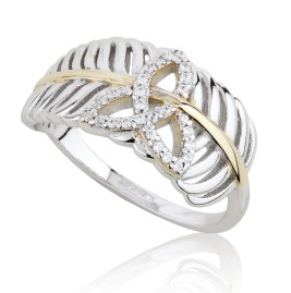 Jean Butler €130 - Sterling Silver Yellow Vein Feather Trinity Ring http://www.jeanbutlerjewellery.com/sterling-silver-rose-vein-feather-w-cubic-zirconia-trinity-ring.html