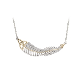 Jean Butler €180 - Sterling Silver Double Feather Necklace with Vein Trinity http://www.jeanbutlerjewellery.com/sterling-silver-double-cubic-zirconia-feater-neck-with-yellow-vein-and-trinity.html