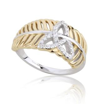 Jean Butler €130 - Sterling Silver Yellow Feather Trinity Ring http://www.jeanbutlerjewellery.com/jb2017.html