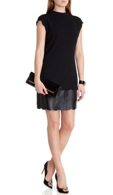 Ted Baker €250 - Feabee Scallop leather hem dress http://www.tedbaker.com/ie/Womens/Clothing/Dresses/FEABEE-Scallop-leather-hem-dress-Black/p/109928-00-BLACK