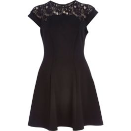 River Island €45 - http://eu.riverisland.com/women/dresses/skater-dresses/Black-lace-yoke-skater-dress-655715