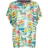 River Island €26 - http://eu.riverisland.com/women/swimwear--beachwear/cover-ups/Green-tropical-print-mesh-stripe-t-shirt-656440