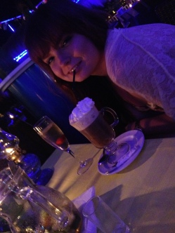 Blue Cactus - Caoimhe with her Irish Coffee and Champagne Sangria