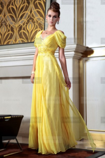 Fanny Crown €169 - Simple V-neck Long Daffodil Evening Dress http://bit.ly/1obTZcz