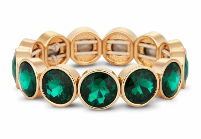 Jon Richard €30 - Green crystal circular stone stretch bracelet http://bit.ly/Vvdjuy