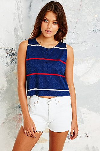 BDG €20 - Stripe Henley Tank Top in Navy http://bit.ly/1or0TgP