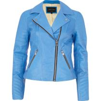 River Island €161 - Blue Leather Jacket http://bit.ly/1mndp2x