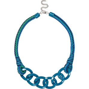 River Island €13 - Blue Bungee Cord Curb Chain Necklace http://bit.ly/1mWlwly