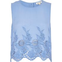 River Island €25 - blue floral embroidered cropped tank top http://bit.ly/1lBEskK
