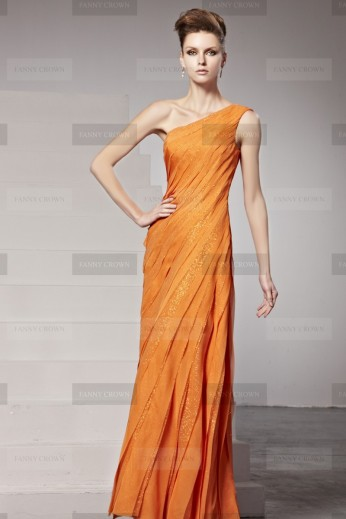 Fanny Crown €329 - Sophisticated One Shoulder Pleated Orange Evening Dress http://bit.ly/1mmivu9