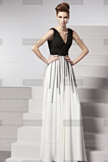 Fanny Crown €269 - Striking Black White Deep V Back Party Dress http://bit.ly/1obO6vT