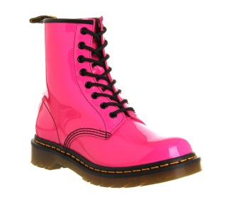 Dr. Martens €114 - 8 Eyelet Lace Up Boot in Hot Pink Patent http://bit.ly/1rutQuD