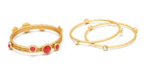 Adele Marie €50.50 - Gold, Coral & Crystal Bangle Set http://bit.ly/1op9EGO