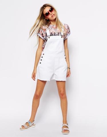 ASOS €49.29 - Denim Dungaree Shorts in White http://bit.ly/1kVv2RO