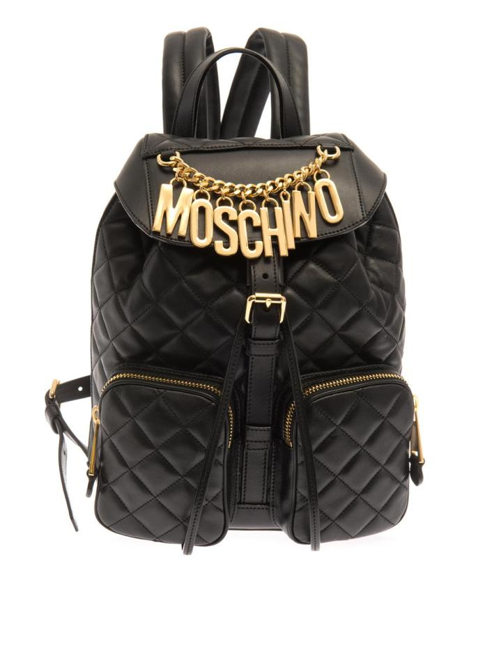 Moschino €1,566 - Lettering quilted-leather backpack http://bit.ly/KillerFashion-moschino