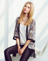 Quiz €32.49 - Black And Grey Chiffon Floral Print Fringe Kimono http://bit.ly/VcK0fl