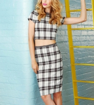 Quiz from €16.89 - Cream And Black Textured Check Crop Top http://bit.ly/1on8IH5 ; Cream And Black Textured Check Midi Skirt http://bit.ly/1vtIE0D