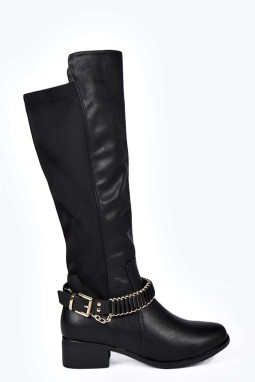 Boohoo €54.99 - Libby Chain Trim Knee High Boots http://bit.ly/1CBNtoN