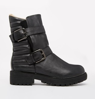 Truffle @ ASOS €45.50 - Quilted Buckle Detail Biker Boots http://bit.ly/10ehoWn