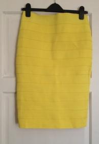 Textured Yellow Bandage Midi Skirt