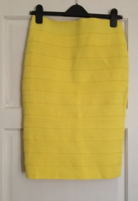 Textured Yellow Bandage Midi Skirt