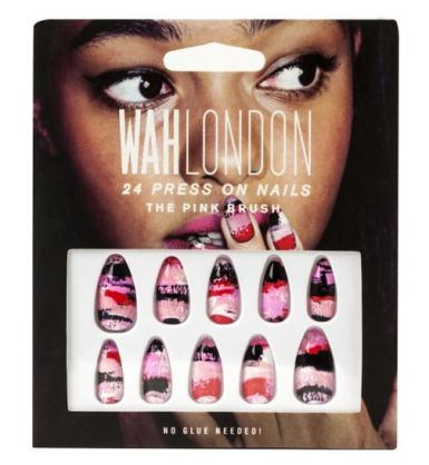 WAH London €11 - The Pink Brush 24 Press On Nails http://bit.ly/10zx8n8