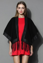 Chicwish €37.68 - Leather Tassel Jockey Cape http://bit.ly/1t3WC6L