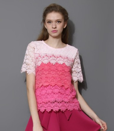 Chicwish €33.28 - Dip Dye Tiered Crochet Top in Pink http://bit.ly/1CwBU0i