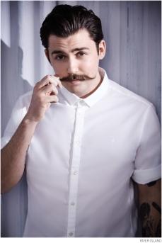 River Island €45 - White Stretch Movember Shirt http://bit.ly/1zlJU6Y
