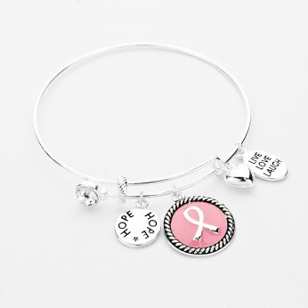 Glitz N Pieces €14 - Pink Ribbon Charm Bracelet http://bit.ly/1st8sY6