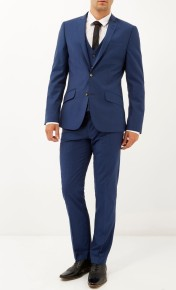 River Island from €55 - Blue wool-blend slim three-piece suit http://bit.ly/1Ktko4I