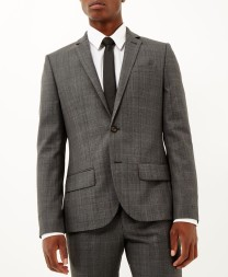 River Island from €55 - Grey check wool-blend slim three-piece suit http://bit.ly/1F59IsS