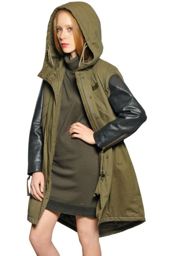 Diesel €450 - Over Dyed Cotton & Leather Parka http://bit.ly/11QC1ZG