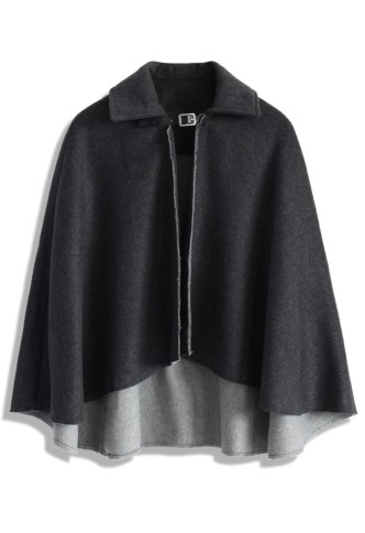 Chicwish €49.63 - Wool Riding Cape in Dark Grey http://bit.ly/1tdy1J9