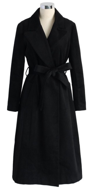 Chicwish €69.13 - Mystery Black Wool-blend Belted Coat http://bit.ly/11p6lts