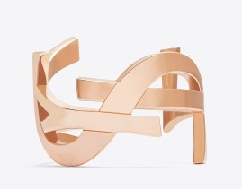 Saint Laurent €638.70 - Signature Monogram Cuff In Rose Gold-Toned Brass http://bit.ly/12aoFaN