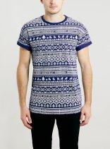Topman €20 - Blue Fairisle Pattern Roller Fit T-Shirt http://bit.ly/1xMg3CM