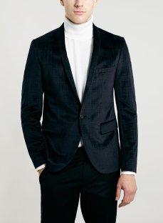 Topman €106.80 - Navy Velvet Check Blazer http://bit.ly/111pql3