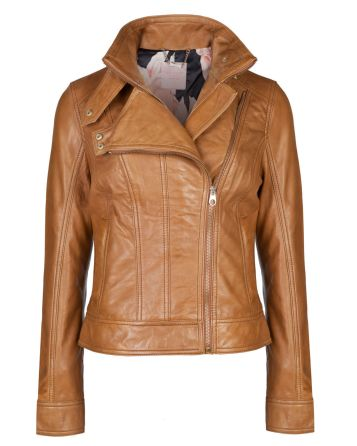 Ted Baker €455 - Zip collar leather jacket http://bit.ly/1pcxUkV
