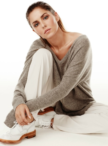 Cheryl wears sweater by Autumn Cashmere, trousers by MM6s, shoes by Trickers