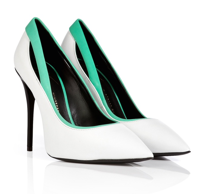 Giuseppe Zanotti €187 - Leather Pointy-Toe Pumps with Contrast Trim http://bit.ly/1sMiC2k