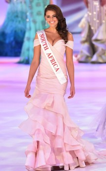 Miss South Africa, Rolene Strauss, wearing her ceremony gown designed by Casper Bosman