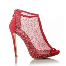 Quiz €39 - Red Glitter Mesh Shoe Boots http://bit.ly/1zYxroV
