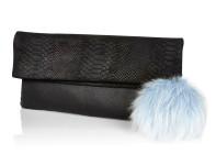 River Island €55 - Black Leather Fold Over Pom Pom Clutch http://bit.ly/1wdLroP