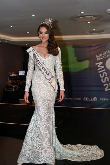 Miss South Africa, Rolene Strauss, wearing her evening gown designed by Casper Bosman