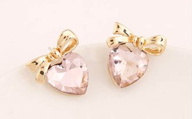 Glitz N Pieces €12 - Bow Heart Earrings http://bit.ly/1IlV5Qe