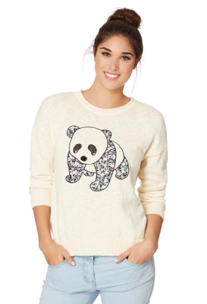 H! by Henry Holland - Cream panelled panda jumper http://bit.ly/1BfOi5g