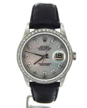 Rolex @ Invaluable €714 - Datejust SS Leather Watch http://bit.ly/1wQ5uka